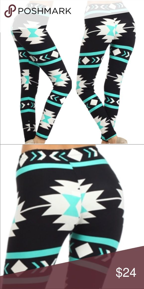 Black White And Mint Green Aztec Print Leggings So soft! Black, white and mint green Aztec print leggings.  •No Trades •Price Firm Unless Bundled  •Bundle And Save On 3+ Items Pants Leggings