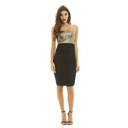 Černé řasené šaty se zlatým topem TFNC velký