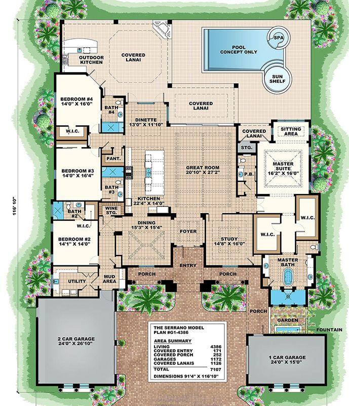 Mansion Mediterranean 32157aa Floor Plan: Mediterranean Plan: 4,386 Square