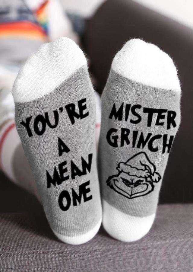 You Re A Mean One Mister Grinch Socks Black Mr Grinch Grinch