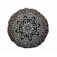 Perna decorativa rotunda Mandala - Alb/Negru