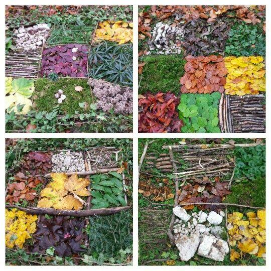 Land Art Activité à faire en forêt. Réaliser une mosaïque (1m carré divisé en 9 cases) avec un choix libre de matériaux trouvés dans la nature (morts!).