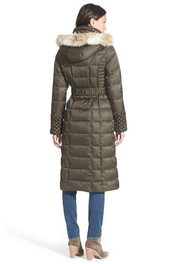 Betsey Johnson Faux Fur Trim Hooded Long Puffer Coat