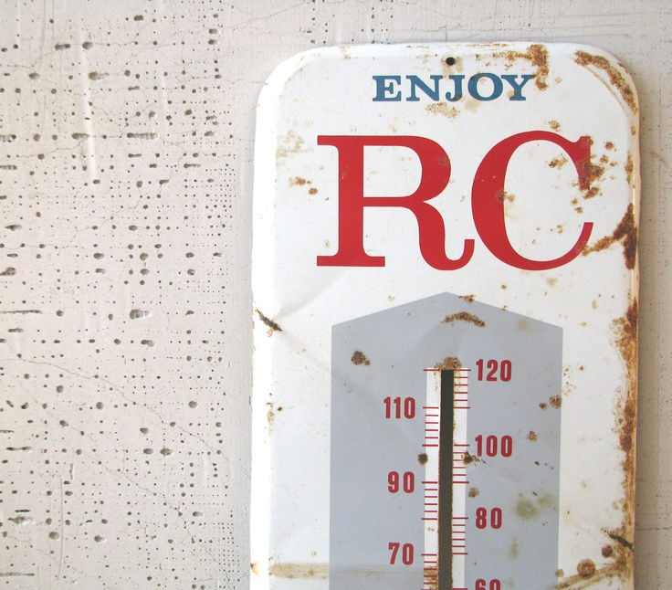 rc advertising metal thermometer - rustic country outdoor decor farmhouse barn primitive decor display white grey and red royal crown cola. $65.00, via Etsy.
