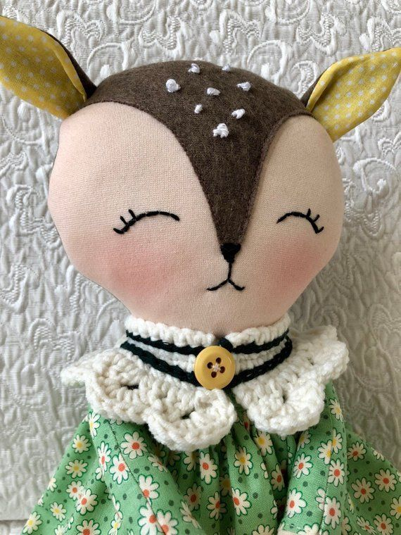 Dress up deer rag doll, fawn soft fabric doll, forest animals toys, toddlers toys, baby first fawn rag doll, gift for baby girl, reborn doll