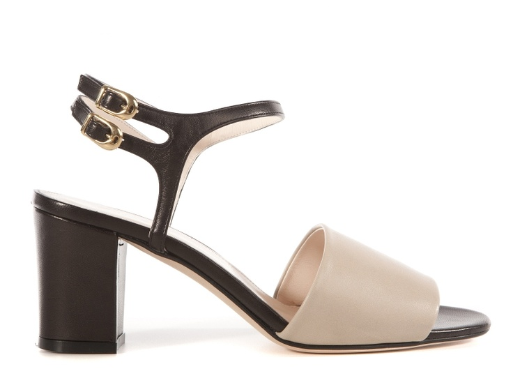 Marliv black and beige silk sandals   From 193.60e get the 50% off