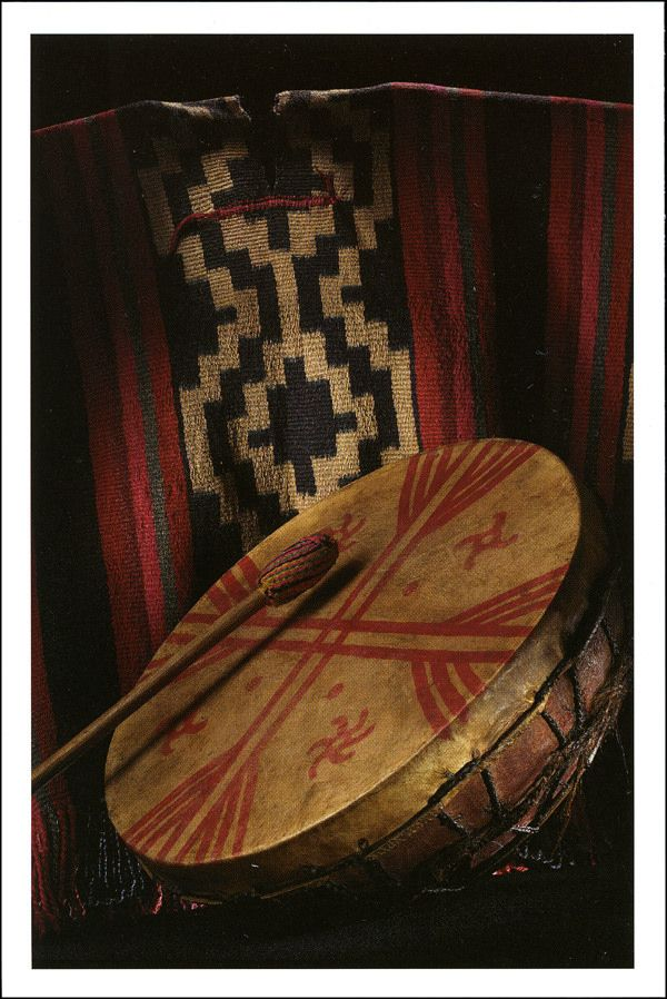 Mapuche Drum, Stick and Poncho from Temuco, Chile, ca. 1940
