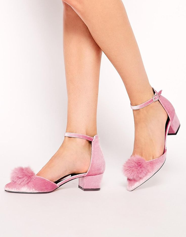 ASOS SAY YOU DO Pink Soft Pointed Kitten Heel Flats with Pom Pom detail