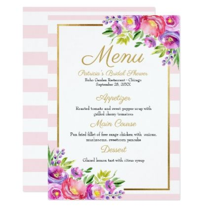 pink faux foil gold floral bridal shower menu card wedding invitations cards custom invitation card design marriage party