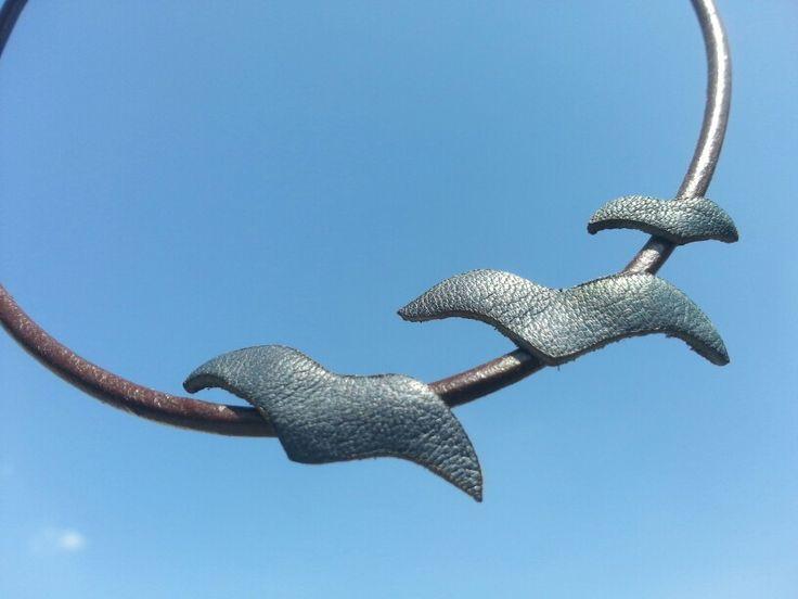 Leather necklace, handmade, seagull Www.feride-sign.com Www.instagram.com/feride_sign