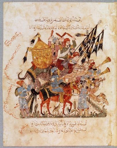 Caravan of Pilgrims traveling to Mecca,  al-Wasiti, Yahya ben Mahmud Al-Hariri's Maqamat, Baghdad, 1237, Bibliotheque Nationale, Paris