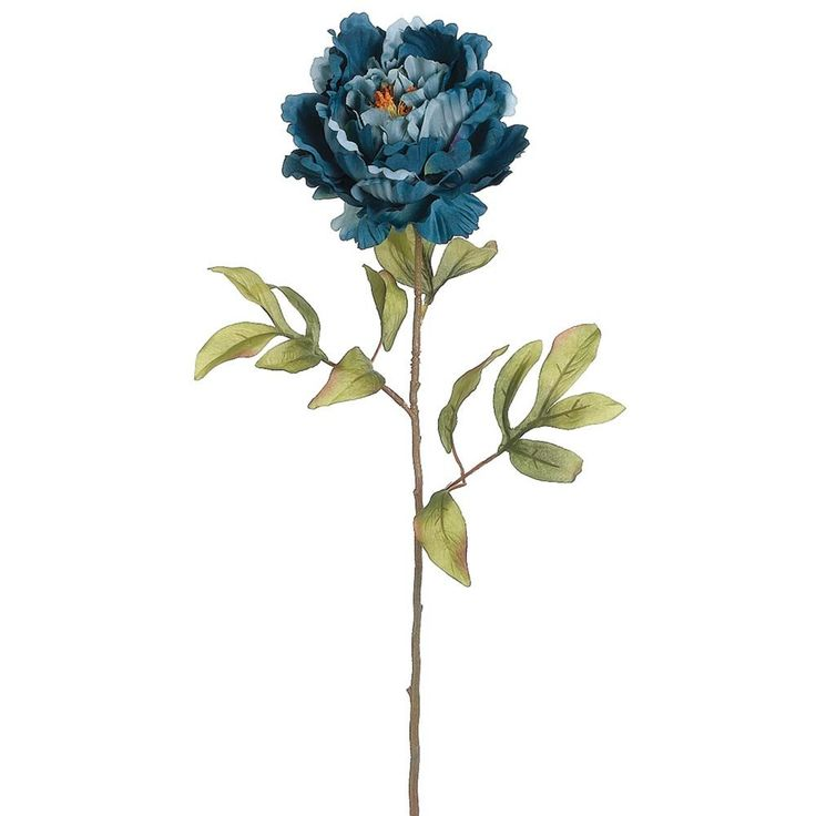 """Artificial Peony Stem in Blue<br>5"""" Bloom x 31"""" Tall"""