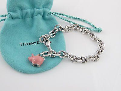 Tiffany Silver Pink Enamel Pig Piglet Animal Charm Bracelet Bangle - EXCELLENT!