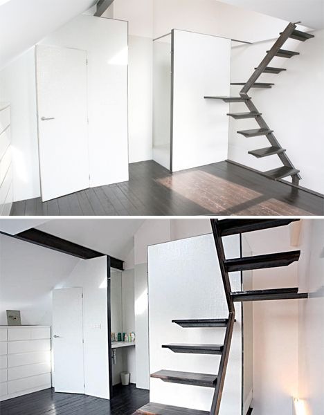 Simple Staircase in Belgium Mini House. These stairs take up very little space thanks to a pivoting design with a (very) small platform at the bend.