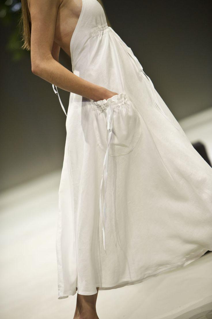 white linen handkerchief dress with gathered pockets. Lunar 2015.