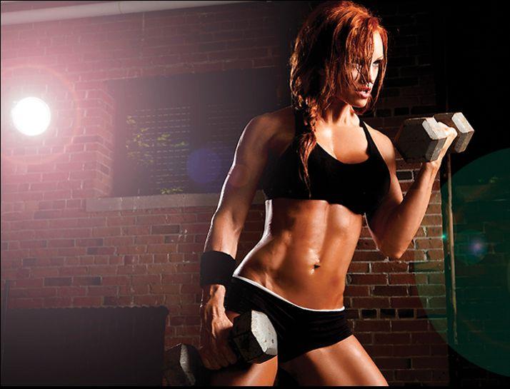 biceps  red hair fitness model shoot