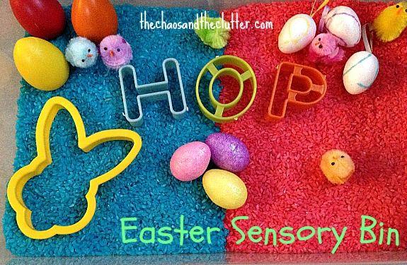 Easter Egg and Bunny Sensory Bin