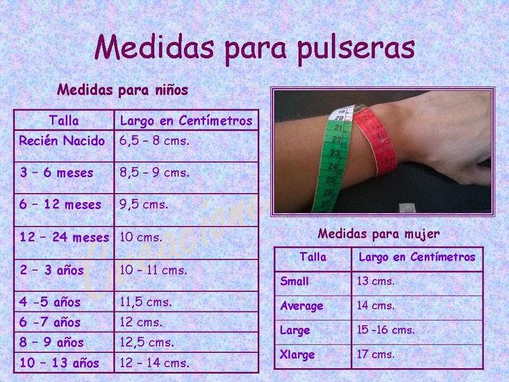 Tejidos realizados con amor para ti ...: Tabla de medidas para pulseras.
