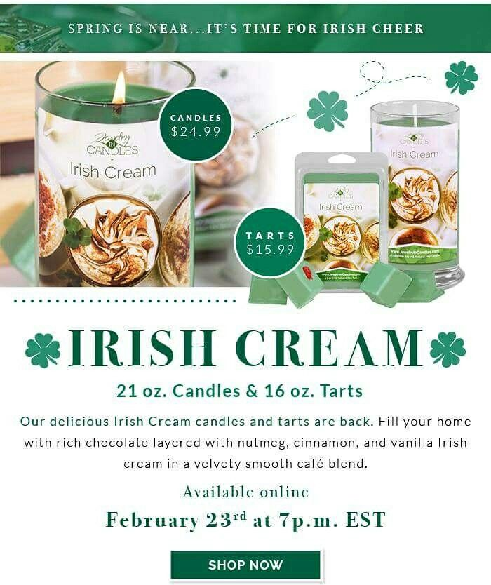 Get some green for St. Patricks Day and bring a little luck with a jewelry surprise inside! Get our Irish Cream candles and tarts that are in just in time for you to celebrate with this great scent!