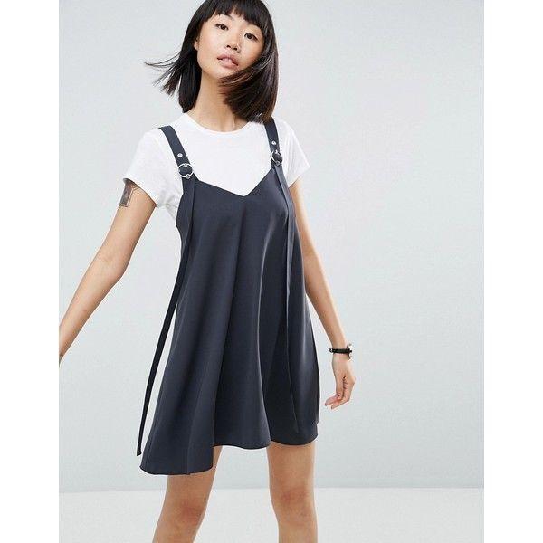 ASOS Buckle Detail Mini Slip Dress ($48) ❤ liked on Polyvore featuring dresses, grey, mini prom dresses, holiday party dresses, gray party dress, v neck mini dress and asos dresses