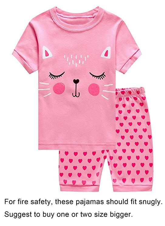 ed80e0c92f IF Pajamas Cat Summer Baby Girls Shorts Set Pajamas 100% Cotton Clothes  Infant Kid Toddler 18-24 Months