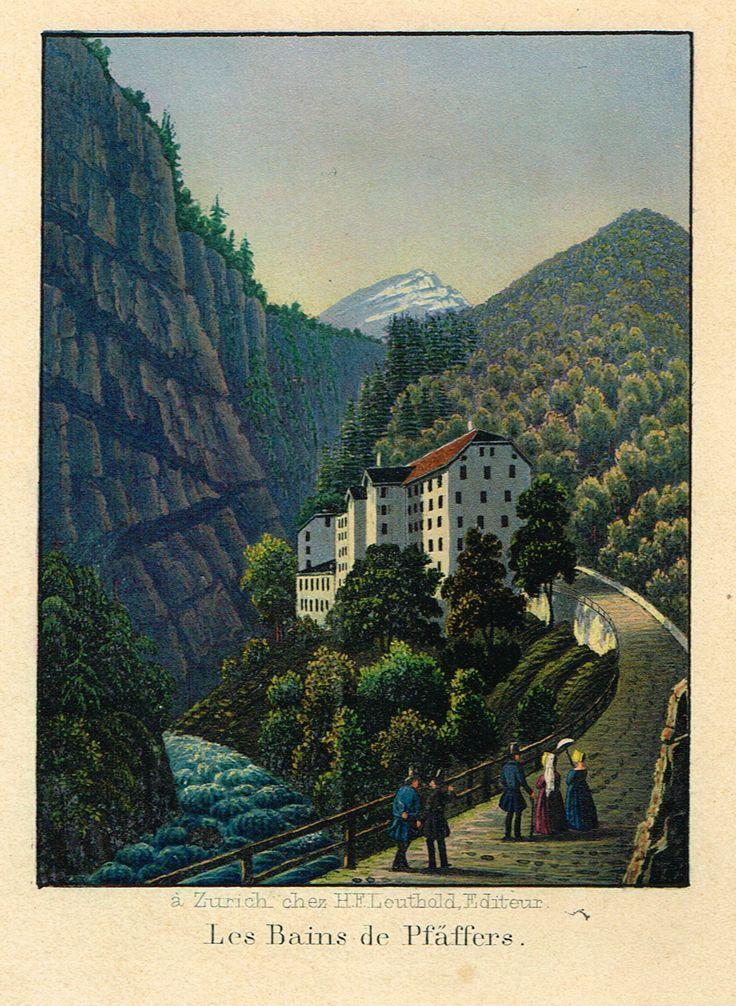 Les Bains de Pfäffers - à Zurich chez H.F. Leuthold. Editeur - Aquatinte XIXe - MAS Estampes Anciennes - MAS Antique Prints