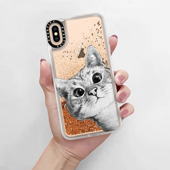 new styles 8084a 16669 Glitter iPhone XS Max Case - peekaboo cat on rose gold in 2019 ...
