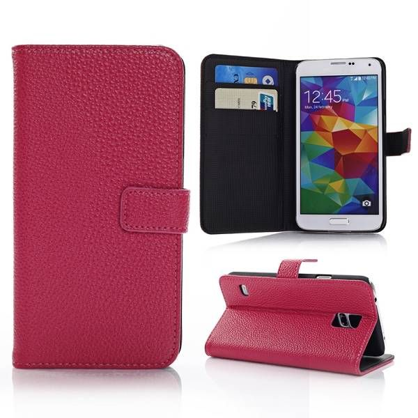 Lychee donkerroze bookcase hoes voor Samsung Galaxy S5