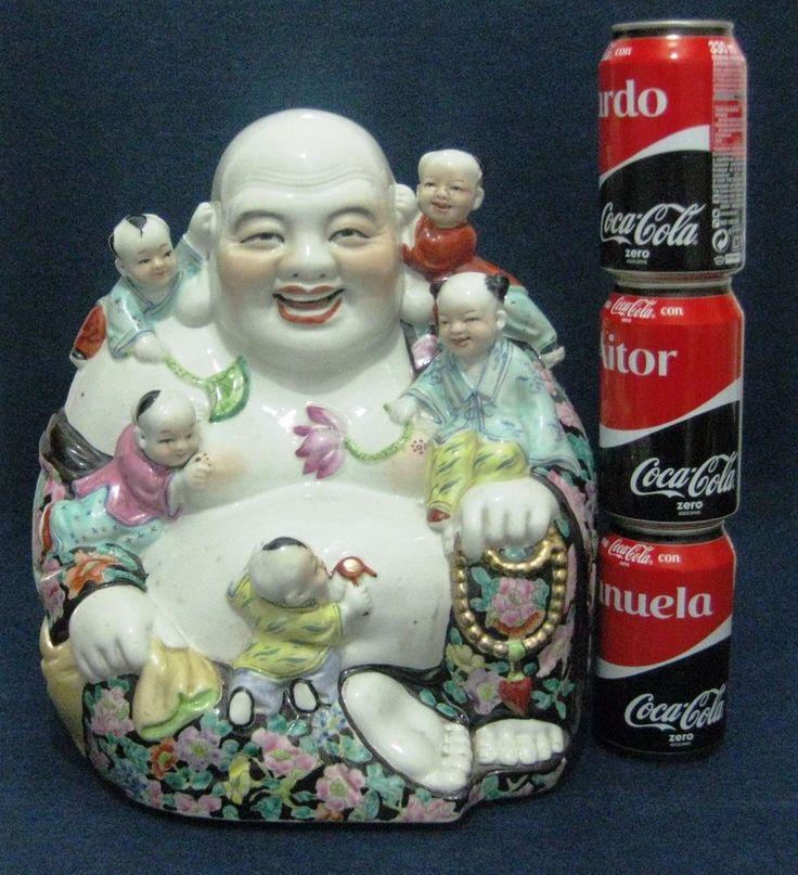 LARGE BIG ANTIQUE RARE CHINA CHINESE PORCELAIN BUDDHA ROSE FAMILLE SIGNED MARKED