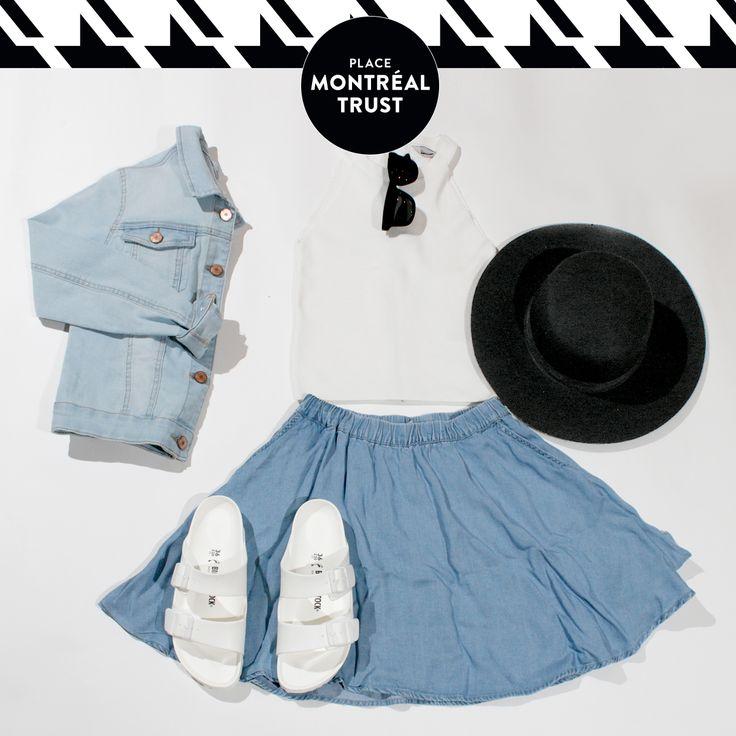 #PMTLook - Du #denim, partout. Jupe, camisole, chapeau, lunettes, manteau denim - #VEROMODA : goo.gl/ENnMwN. Sandales - Little Burgundy : goo.gl/NYqIy7. #OOTD #Shopping #Mtl #PMT
