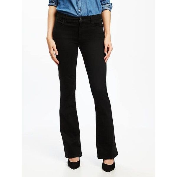 Old Navy Womens Mid Rise Black Micro Flare Jeans ($50) ❤ liked on Polyvore featuring jeans, black, petite, slim fit stretch jeans, denim jeans, mid-rise jeans, stretch denim jeans and old navy jeans