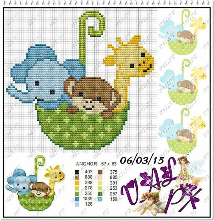 Elefante, urso, girafa, baby, ponto cruz