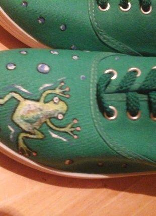 Tenisky, zelené s žabkami vel.36-37
