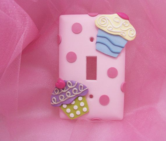Cupcake Lightswitch Cover  Polymer Clay  Single by Thimbletowne, $20.00
