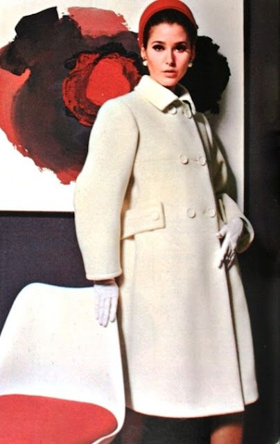 French fashion 1960's, mode, Paris,1965 - YSL coat