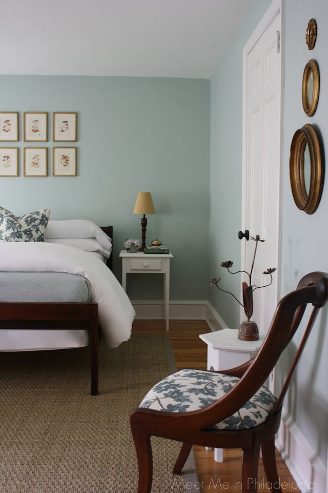 "guest bedroom by Meet Me in Philadelphia blog, painted in ""Palladian Blue"" by Benjamin Moore"