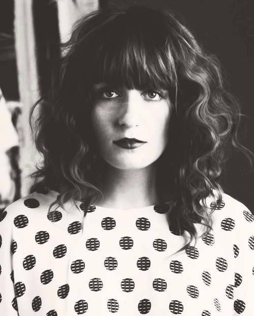 Florence Welch, Florence and the Machine, full fringe, curly hair, hairstyle, inspiration, polka dot, dark lip, beauty, fashion, style