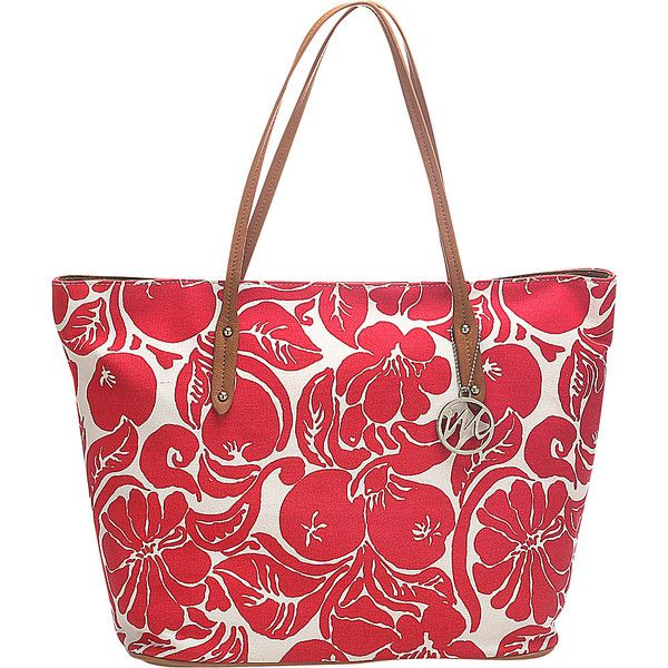 Emilie M Freda Canvas Tote Tote ($31) ❤ liked on Polyvore featuring bags, handbags, tote bags, manmade handbags, red, hand bags, red tote bag, canvas shopping bag, shopping tote and purse tote
