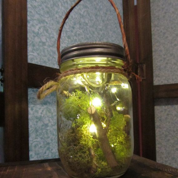 Battery operated led lights in a mason jar looks like freshly caught fireflies!