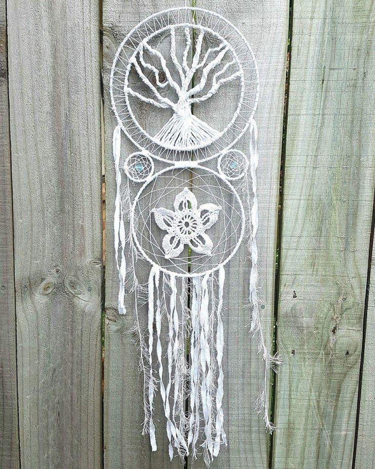 Tree Of Life Dreamcatcher - Bohemian Dreamcatcher - Boho Wall Decor - Boho Dreamcatcher - White Lace - Tree Of Life - Crochet Doily - by Kishayasdreamcatcher on Etsy https://www.etsy.com/nz/listing/498849820/tree-of-life-dreamcatcher-bohemian