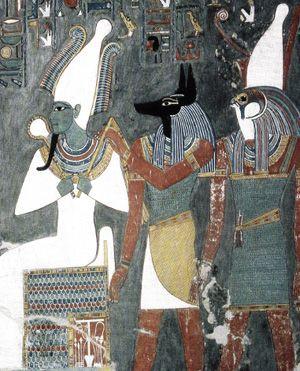 Osiris, Anubis et Horus, tombe d'Horemhed, Thèbes, vers 1290 av. J.-C.