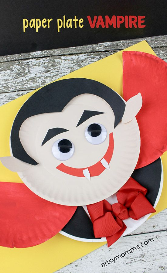 Photo Tutorial for creating a darling Paper Plate Vampire Craft with the Kids this Halloween