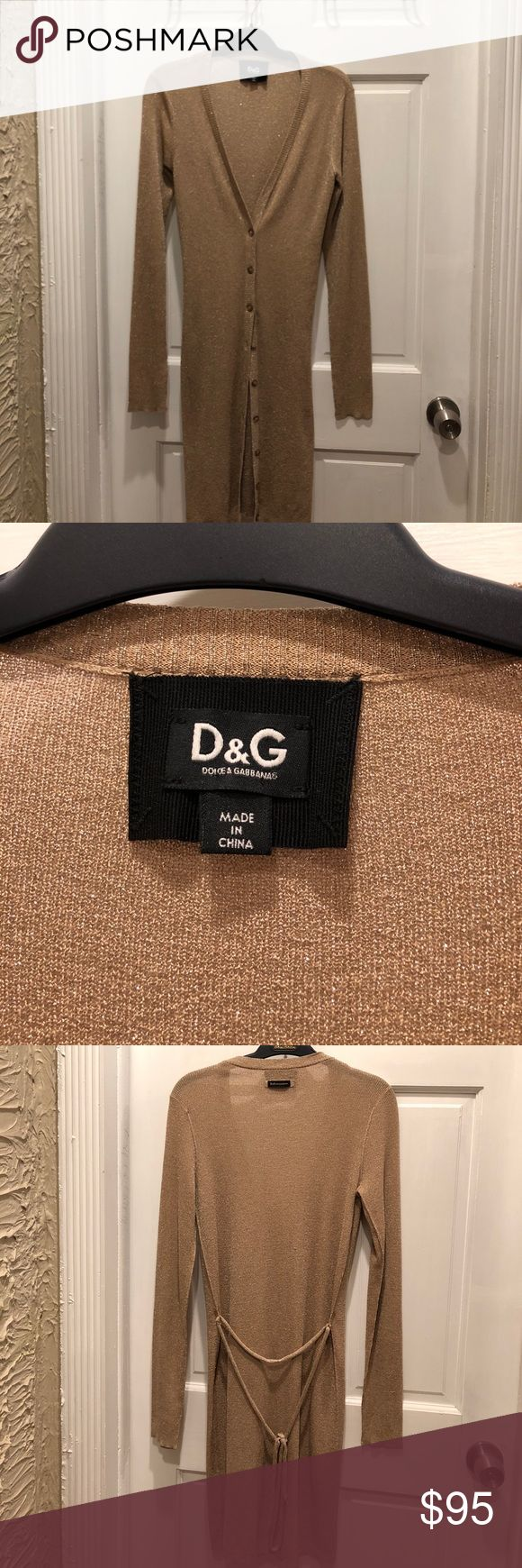DOLCE &GABBANA metallic long cardigan Authentic  D & G long metallic cardigans  in golden tone , in good condition, gentle wear  just a little of  out thread ,  this is long one very fabulous and fashionable. Dolce & Gabbana Sweaters Cardigans