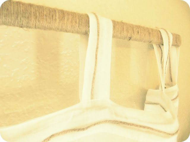 Wrap a cheap curtain rod with twine rope etc for diy for Cheap house wrap