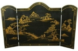 black chinoiserie fireplace screen
