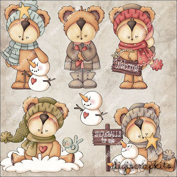 Cozy Bears Clip Art Instant Digital Download от EarlyThymes