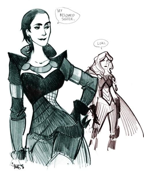 Genderbent Loki and Thor