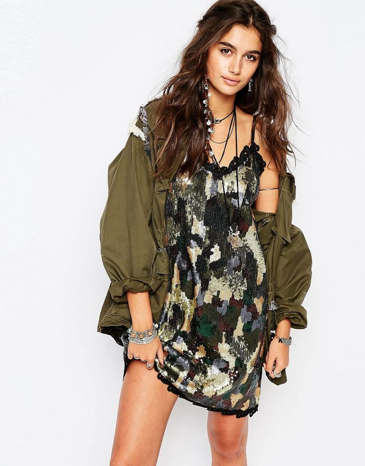 Native Rose Sequin Dress In Camo $145.11