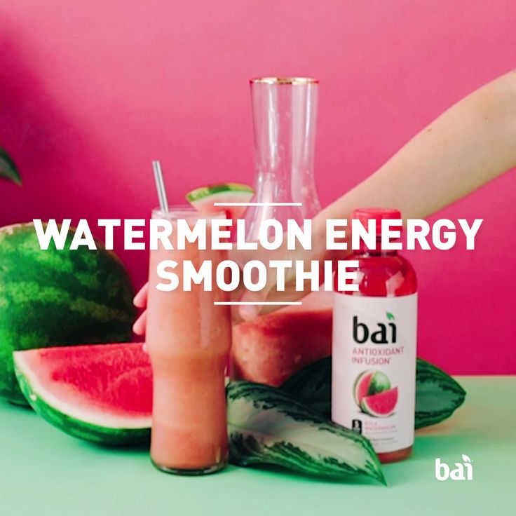 Shake up your wake up and start every day with this Watermelon Energy Smoothie featuring Bai Kula Watermelon. With only 5 calories, 1 gram of sugar, and a kick of natural caffeine, Bai blends perfectly into breakfast.