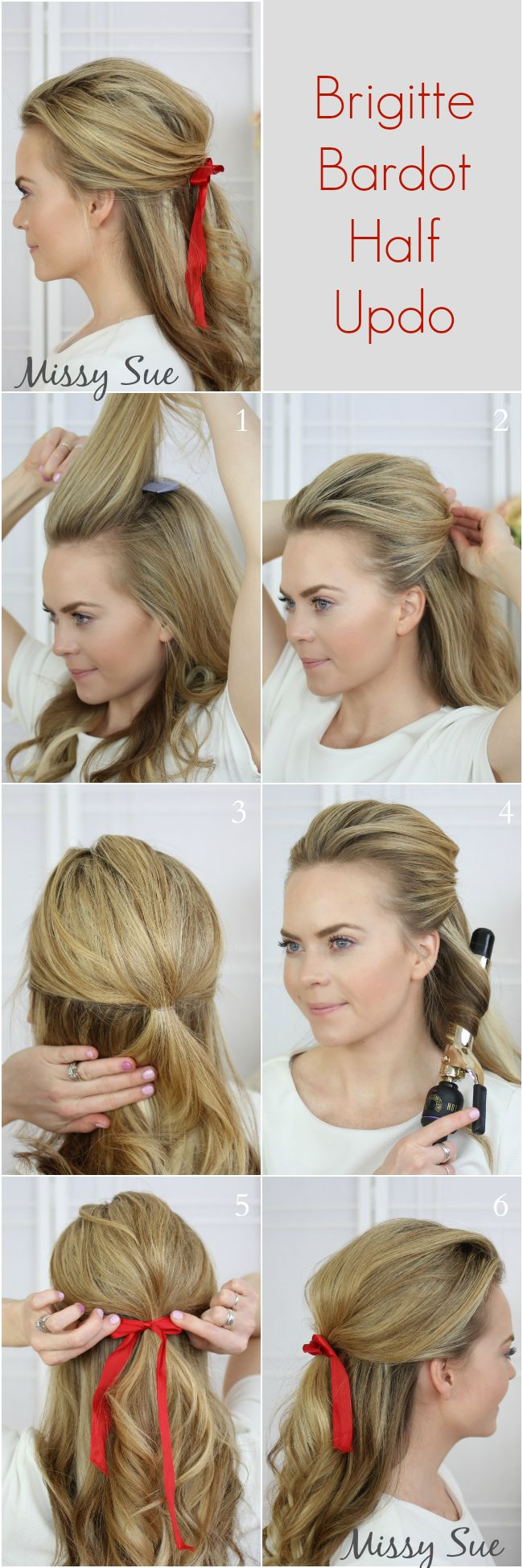 Brigitte Bardot Half Updo! Try it with new 1907 combs!  http://www.frommbeauty.com/shop/product/